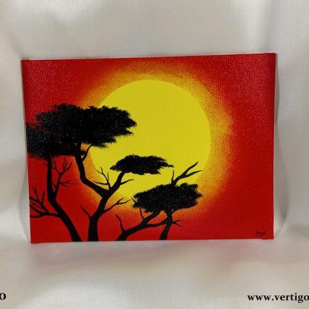 obraz na płótnie Drzewa na Tle Wschodzącego Słońca
