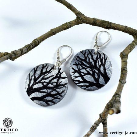 Wooden painted earrings