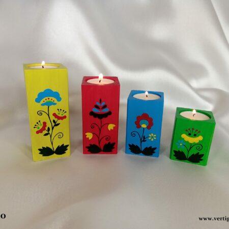 Drewniane świeczniki Kolorowy Wzór Ludowy