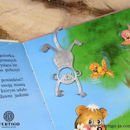 Srebrna zakładka do książki małpka