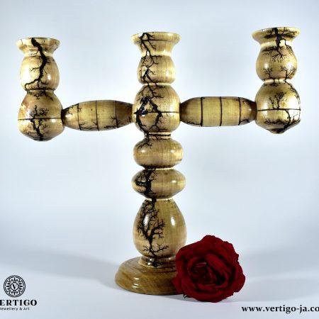 Handmade wooden candlesticks