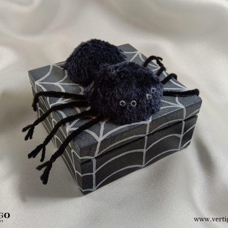 Drewniana szkatułka z włochatym pająkiem na pajęczynie