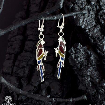 Wiszące kolczyki Papugi - srebro 925 z kolorową żywicą