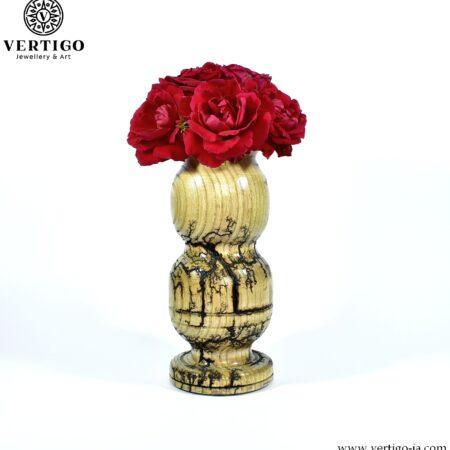 Drewniany, toczony wazon Eufrat - wypalany