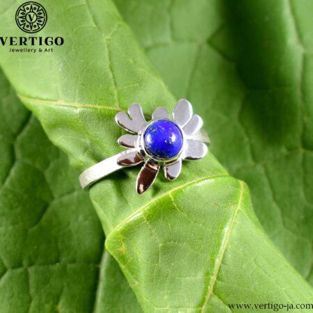 Srebrny pierścionek regulowany z lapis lazuli Kleks
