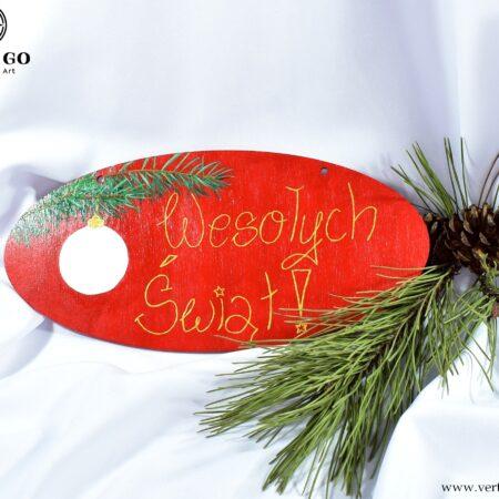 Ręcznie malowana czerwona zawieszka na drzwi Wesołych Świąt