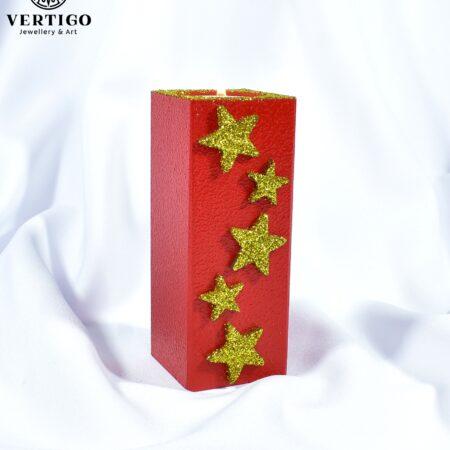 Ręcznie malowany czerwono-złoty świecznik na tealight z gwiazdkami