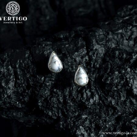 Srebrne kolczyki na sztyfty z agatami dendrytowymi w kształcie łezki