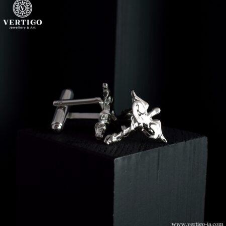Polerowane srebrne spinki mankietowe z kaduceuszami - przestrzenny wzór