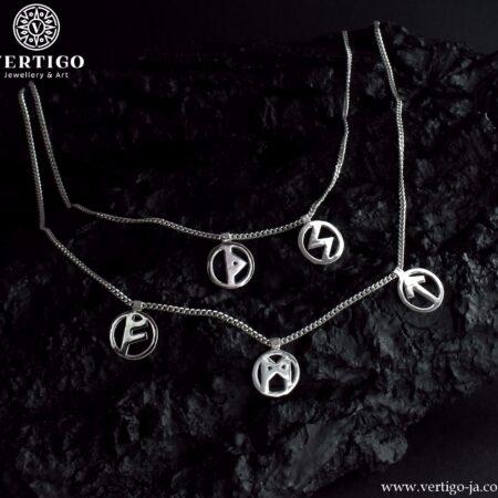 Srebrny podwójny naszyjnik pancerka z 5 nordyckimi runami w okręgach