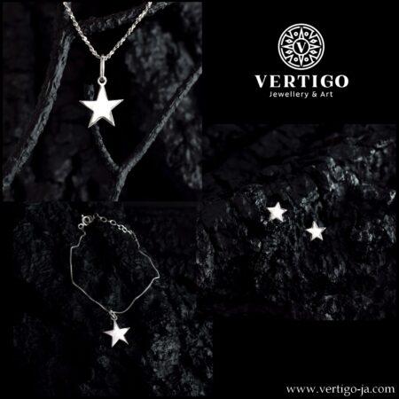 Srebrny 3 częściowy komplet biżuterii z gwiazdkami - zawieszka, kolczyki i bransoletka - polerowane 5 ramienne gwiazdki