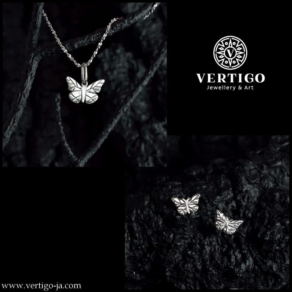 2 częściwoy komplet srebrnej damskiej biżuterii z motylkami - zawieszka z kolczykami