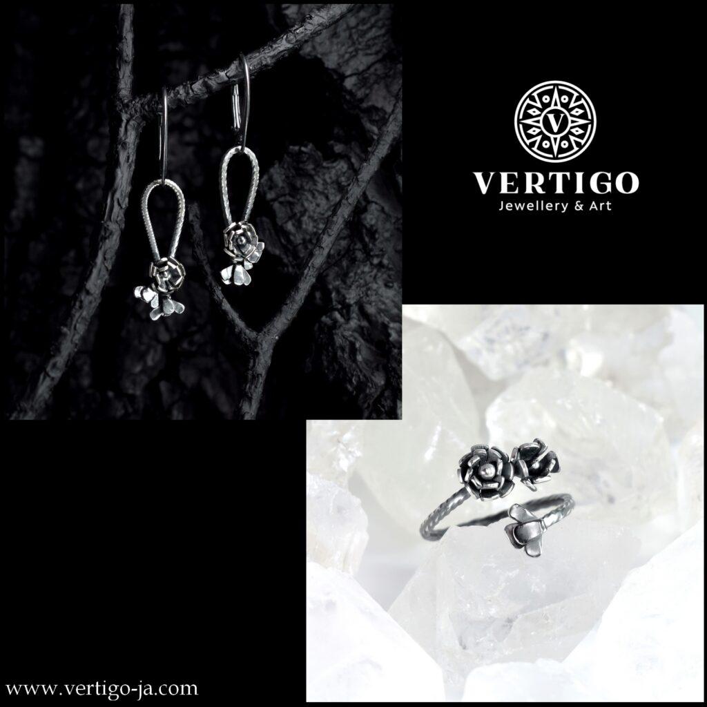 2 częściowy komplet damskiej biżuterii z oksydowanego srebra 0,925z różami - kolczyki i pierścionek