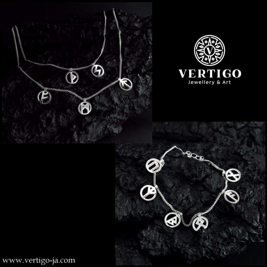 Srebrny 2 częściowy komplet biżuterii z nordyckimi runami - naszyjnik i bransoleta - łańcuszek pancerka