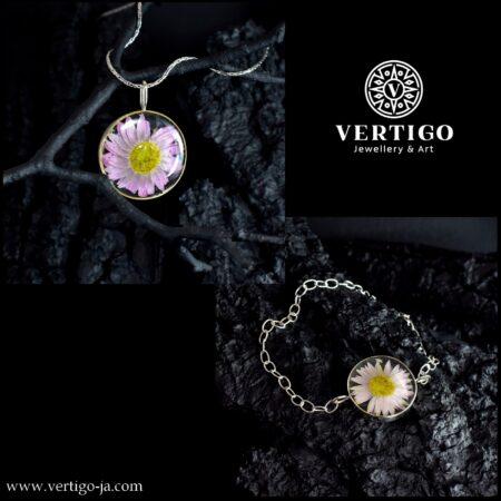 Srebrny 2 częściowy komplet biżuterii z żywicą i suchołuską - bransoleta i wisior