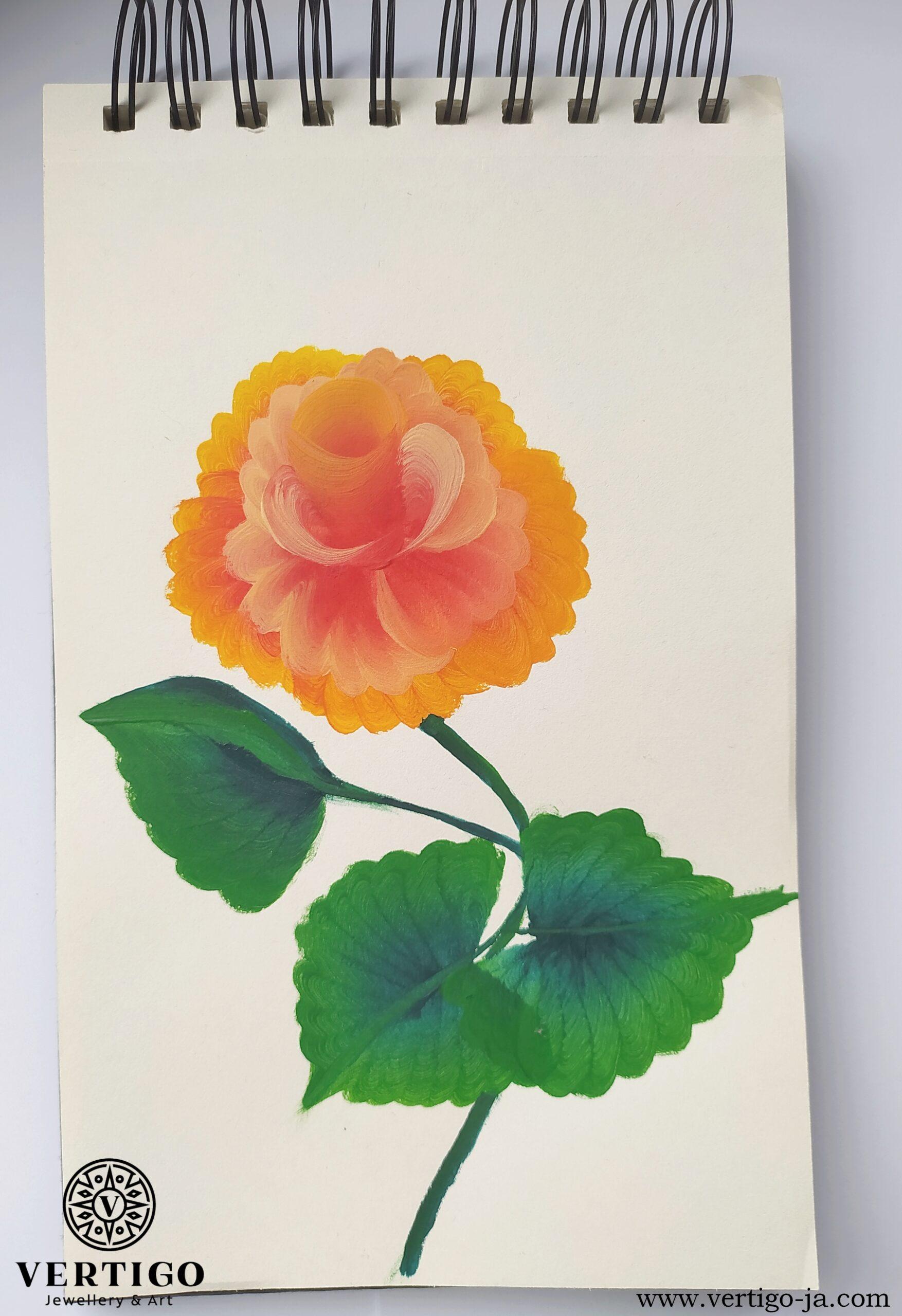 Róża one stroke painting