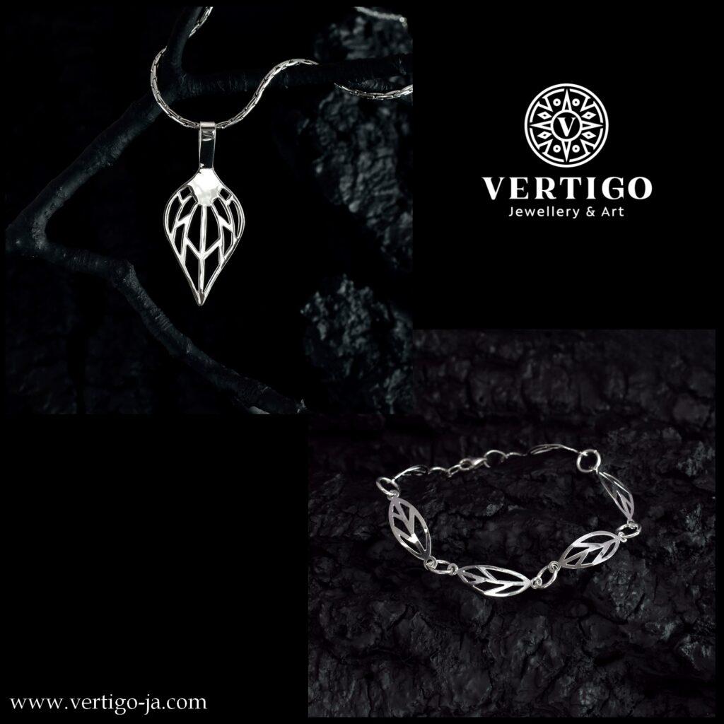 Srebrny komplet damskiej biżuterii z liśćmi - bransoletka i zawieszka