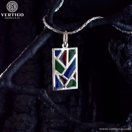 Srebrna, prostokątna zawieszka mozaika z kolorowym witrażem z żywicy